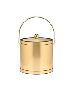 Mylar Brushed Brass 3 Qt. Ice Bucket W/ Brass Bale Handle, Bands & Metal Cover
